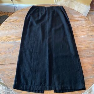 CHICO'S black55%linen/45%rayon vent back skirt